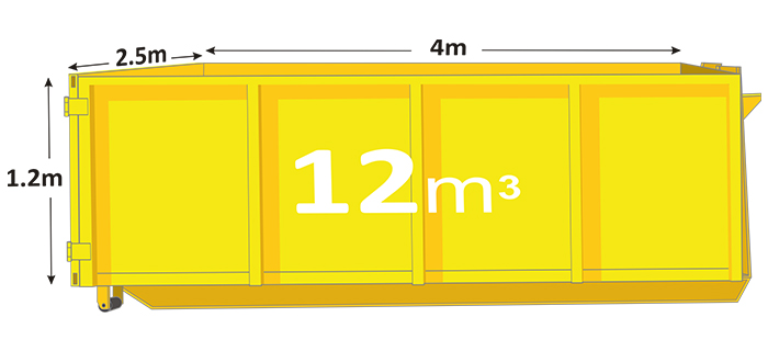 12m walk in bin in yellow with measurements