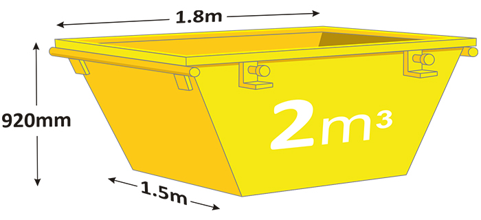 2m mini skip in yellow with measurements